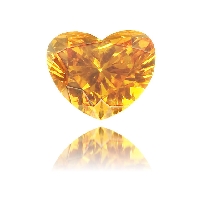 Natural Orange Diamond Heart Shape 0.26 ct Polished
