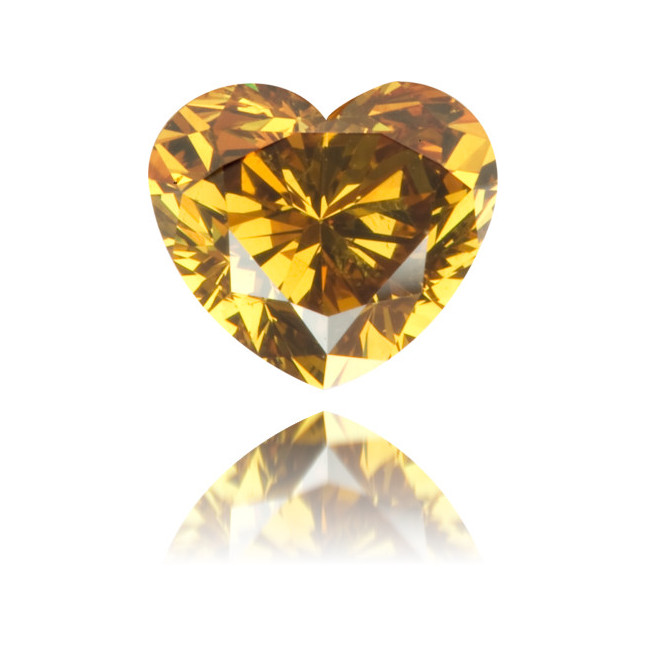 Natural Orange Diamond Heart Shape 0.63 ct Polished