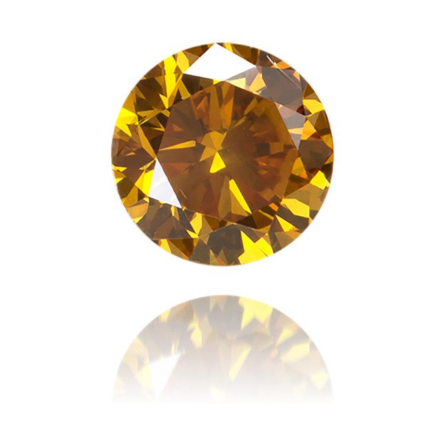 Natural Orange Diamond Round 0.42 ct Polished