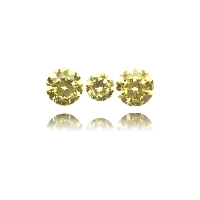 Natural Yellow Diamond Round 0.55 ct Set