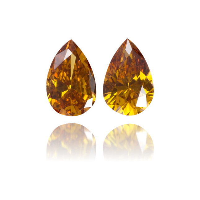 Natural Orange Diamond Pear Shape 0.59 ct Set