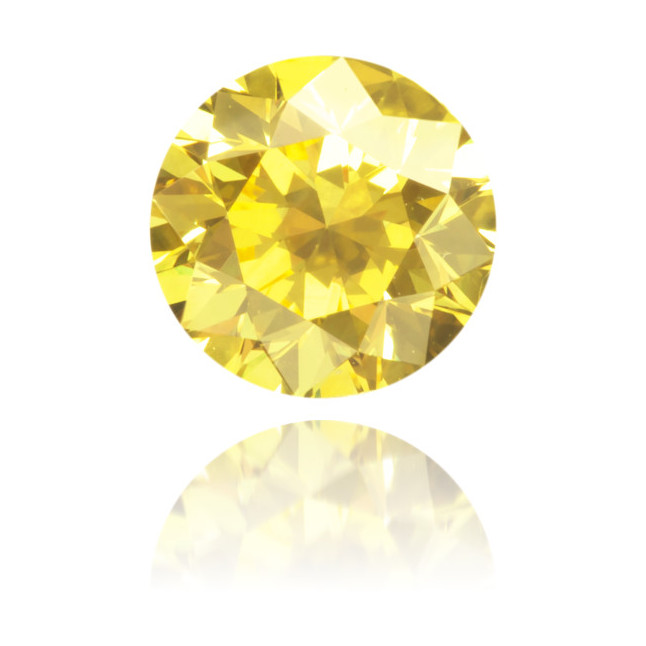 Natural Yellow Diamond Round 0.59 ct Polished