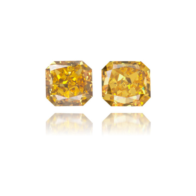 Natural Orange Diamond Rectangle 0.30 ct Set