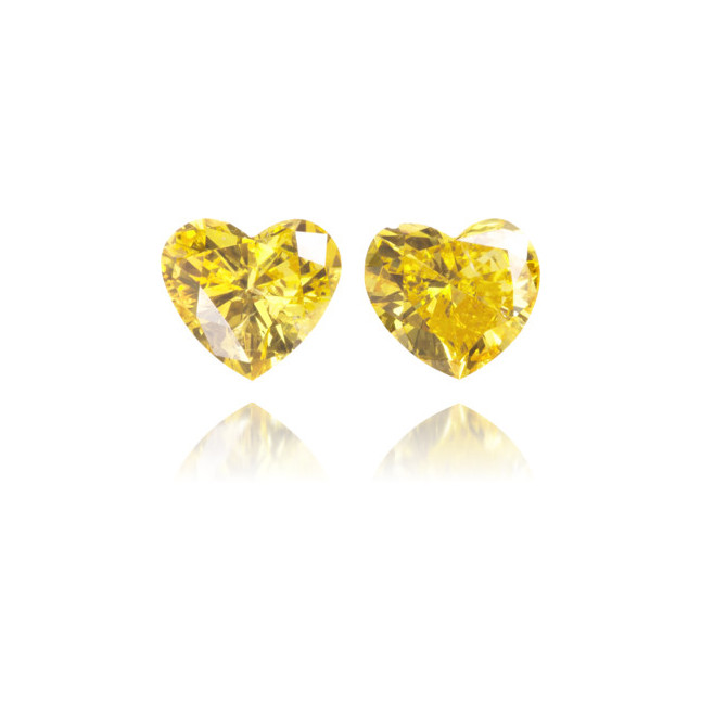 Natural Yellow Diamond Heart Shape 0.37 ct Set