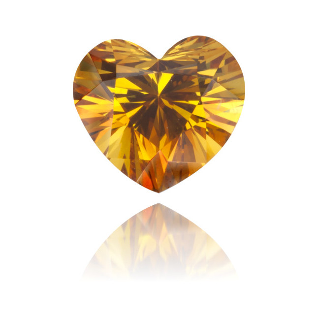 Natural Orange Diamond Heart Shape 0.66 ct Polished