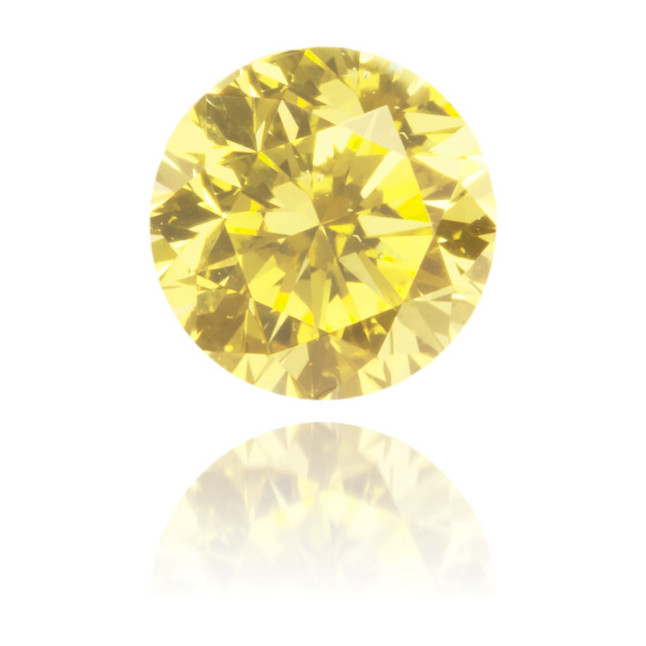 Natural Yellow Diamond Round 0.55 ct Polished