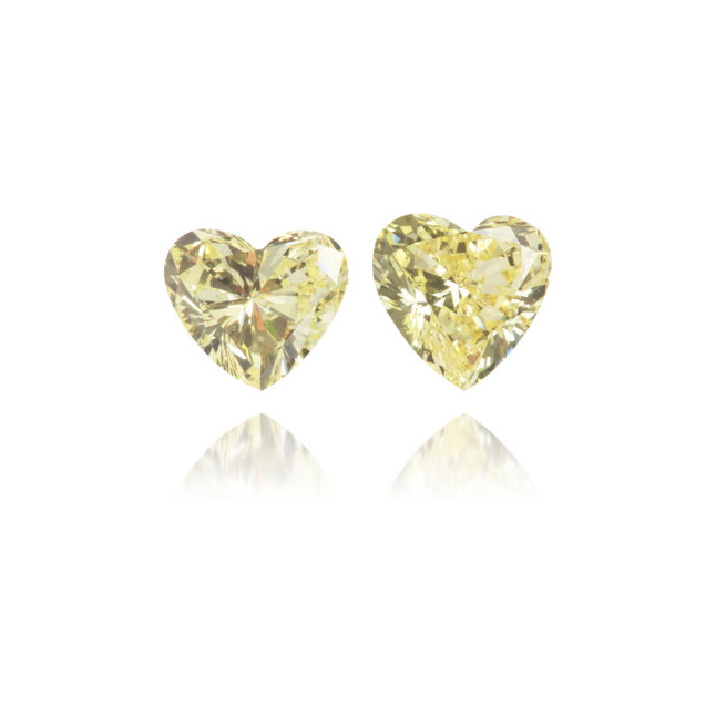 Natural Yellow Diamond Heart Shape 0.35 ct Set