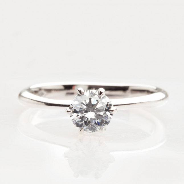 White Diamond Six Prong Ring