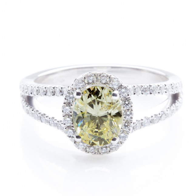 Fancy Yellow Oval Diamond Ring