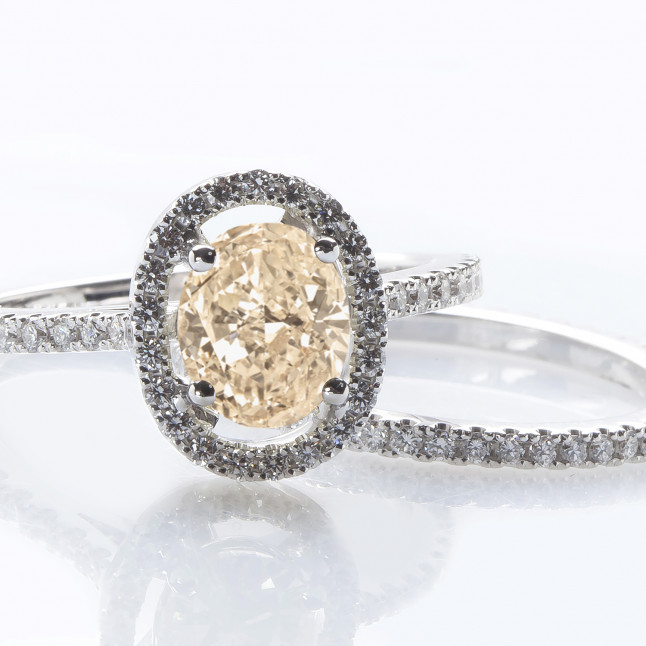Fancy Light Brown Oval Diamond Ring And Wedding Band