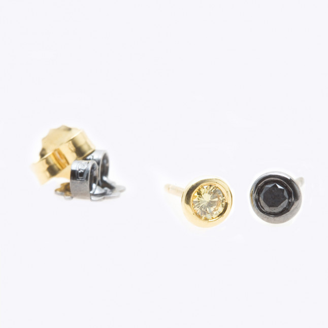 Black and Yellow Diamond Earrings