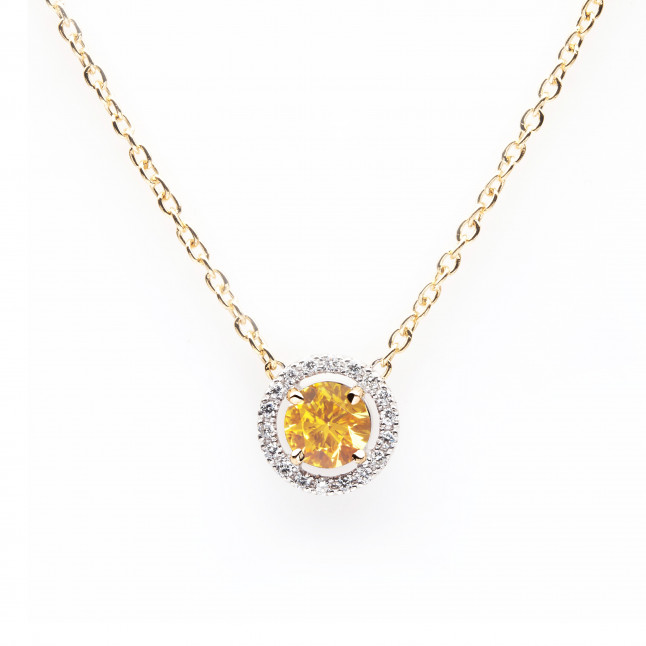 Orange Diamond Pendant with Halo