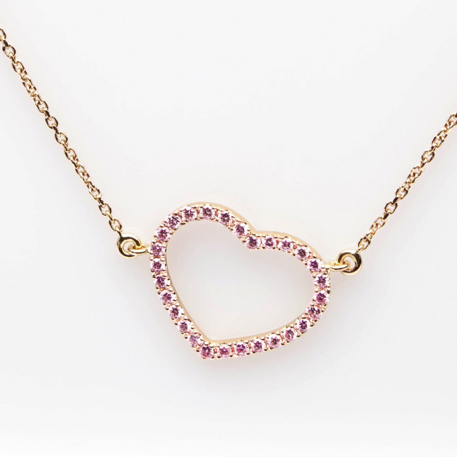 Heart Shaped Pendant with Pink Diamonds