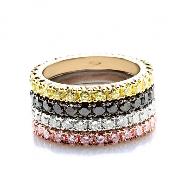 Eternity Rings With Multicolored Diamonds