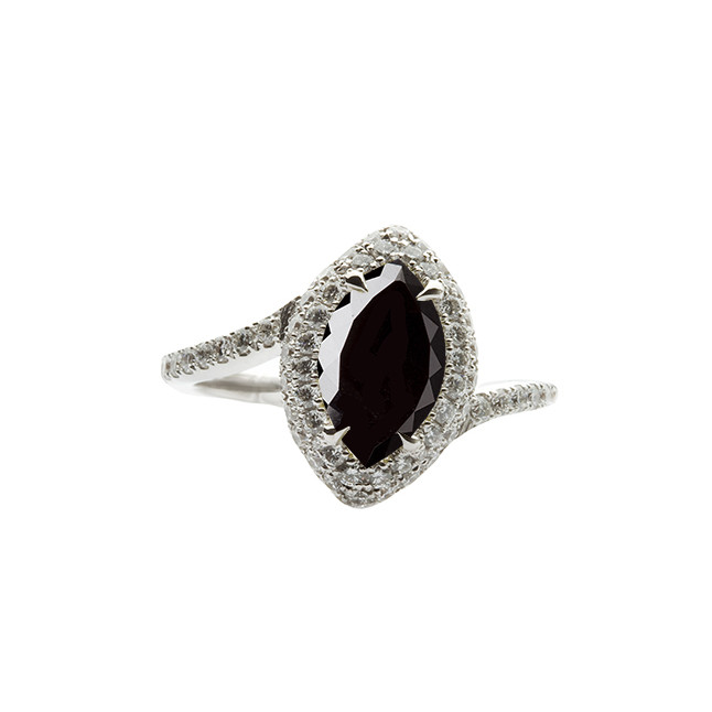 Marquise Black Diamond Engagement Ring