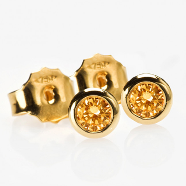 Orange Diamond Bezel Set Studs
