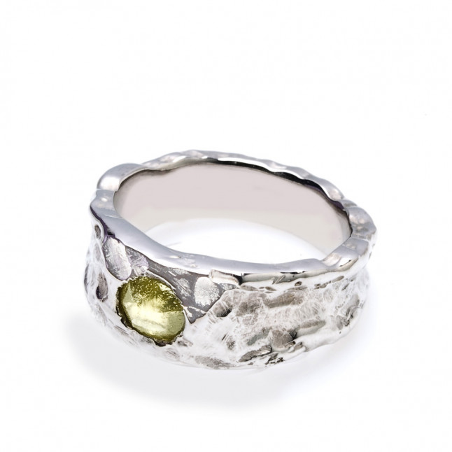 Rough Lime Green Diamond Ring