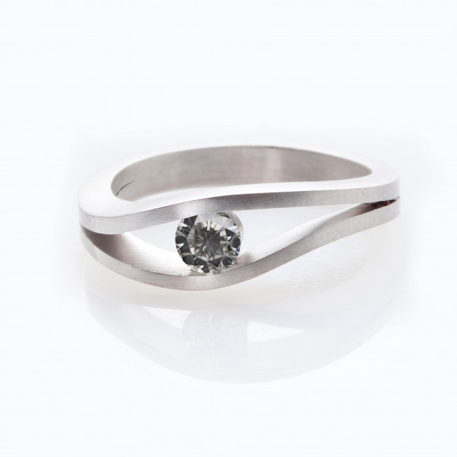 Gray Diamond Tension Set Ring