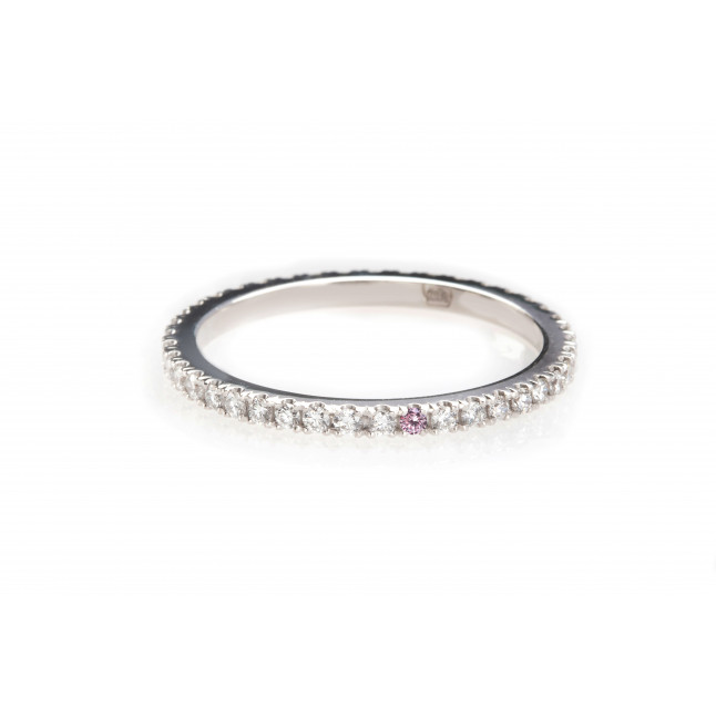 White Eternity Ring with a Pink Touch