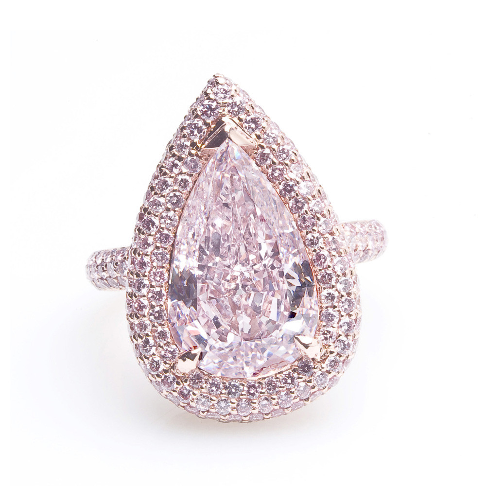 Pink Pear Shape Diamond Ring Natural Colored Diamond Jewelry
