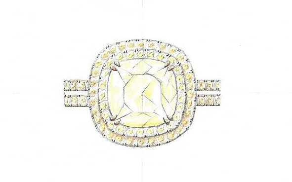 Unique Ring - Langerman jewels - Yellow Natural Color  Diamonds ydcdl