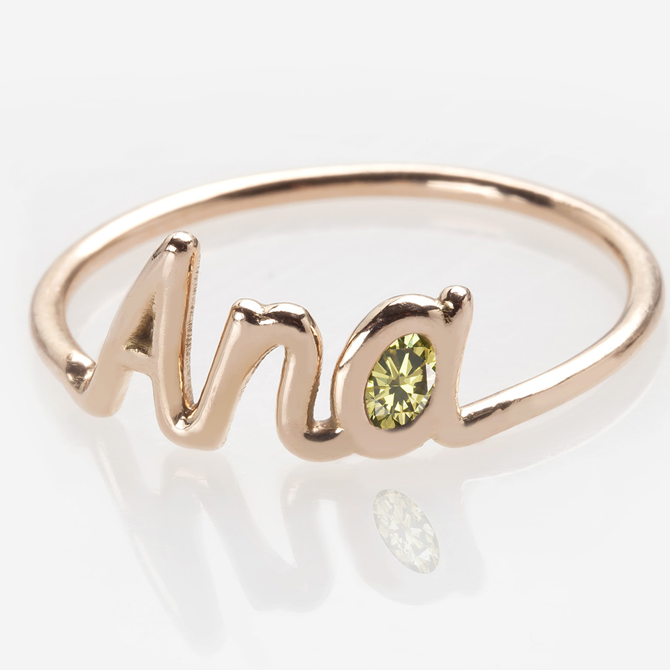 Name Ring with a Natural Green Diamond