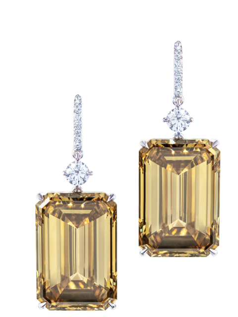 brown-yellow cut-cornered step-cut diamonds of 15.03 and 15.01 carats. Credit Christie's