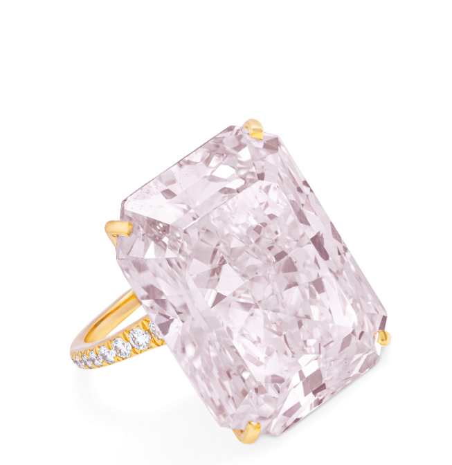 A 32.49-carat fancy light purplish pink, rectangular-cut, VS2 diamond. Langerman by Ydcdl. Image credit: Christie's