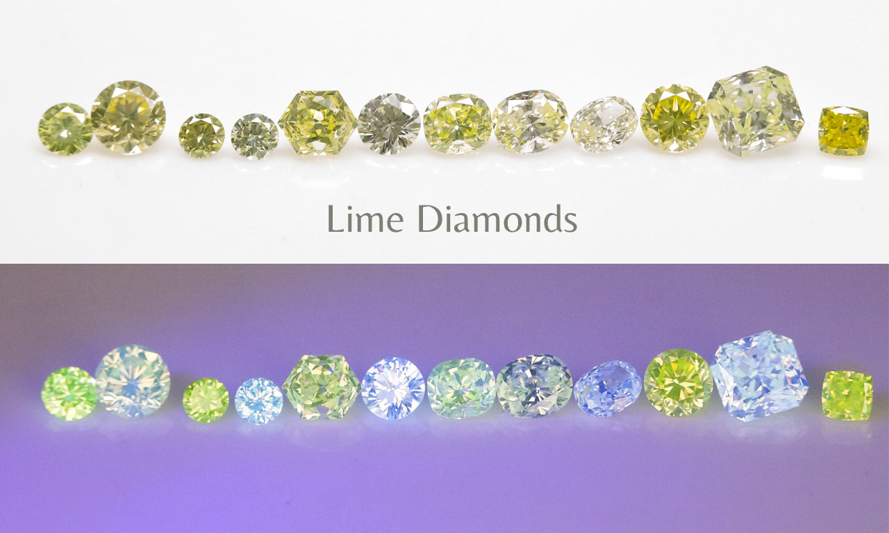 Fluo of Natural Lime Diamonds Langerman