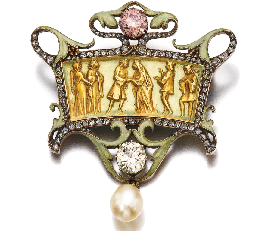 Art Nouveau Brooch from Lalique with pink rose-cut diamond. Langerman by Ydcdl Image credit: Sotheby's
