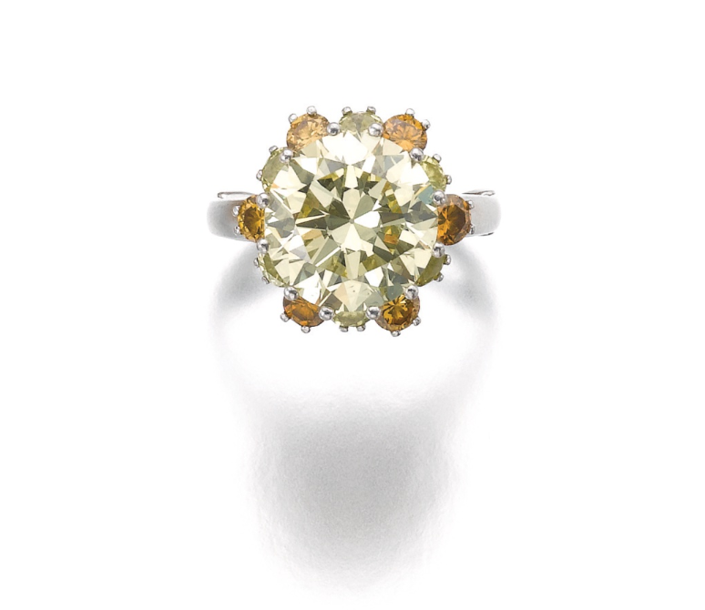 A 7.44 carats brilliant-cut fancy yellow diamond. ydcdl Image Credit Sotheby's.