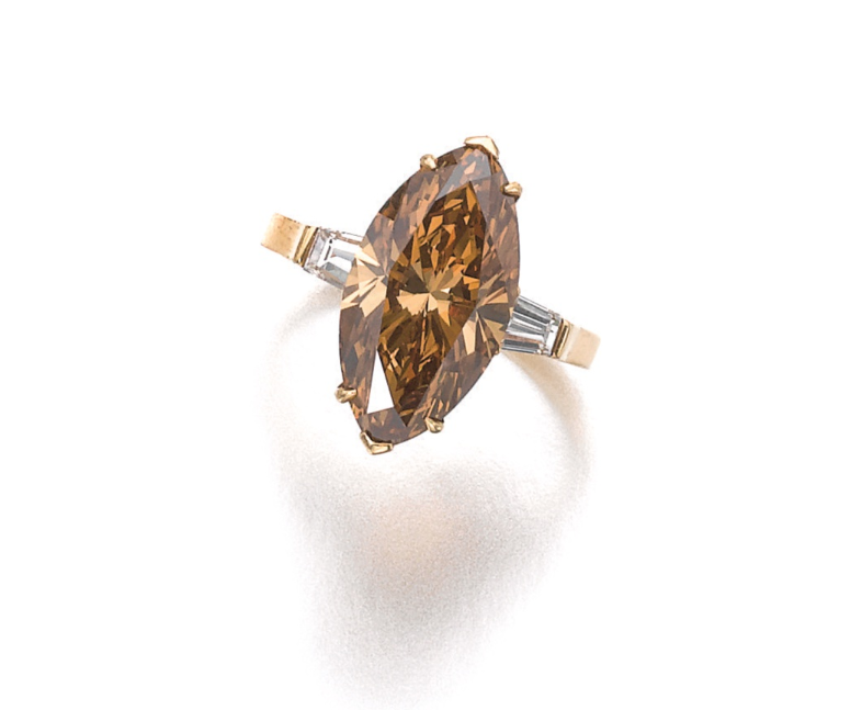 A 5.46 marquise-shaped fancy deep brown-yellow diamond. Image Credit: Sotheby's