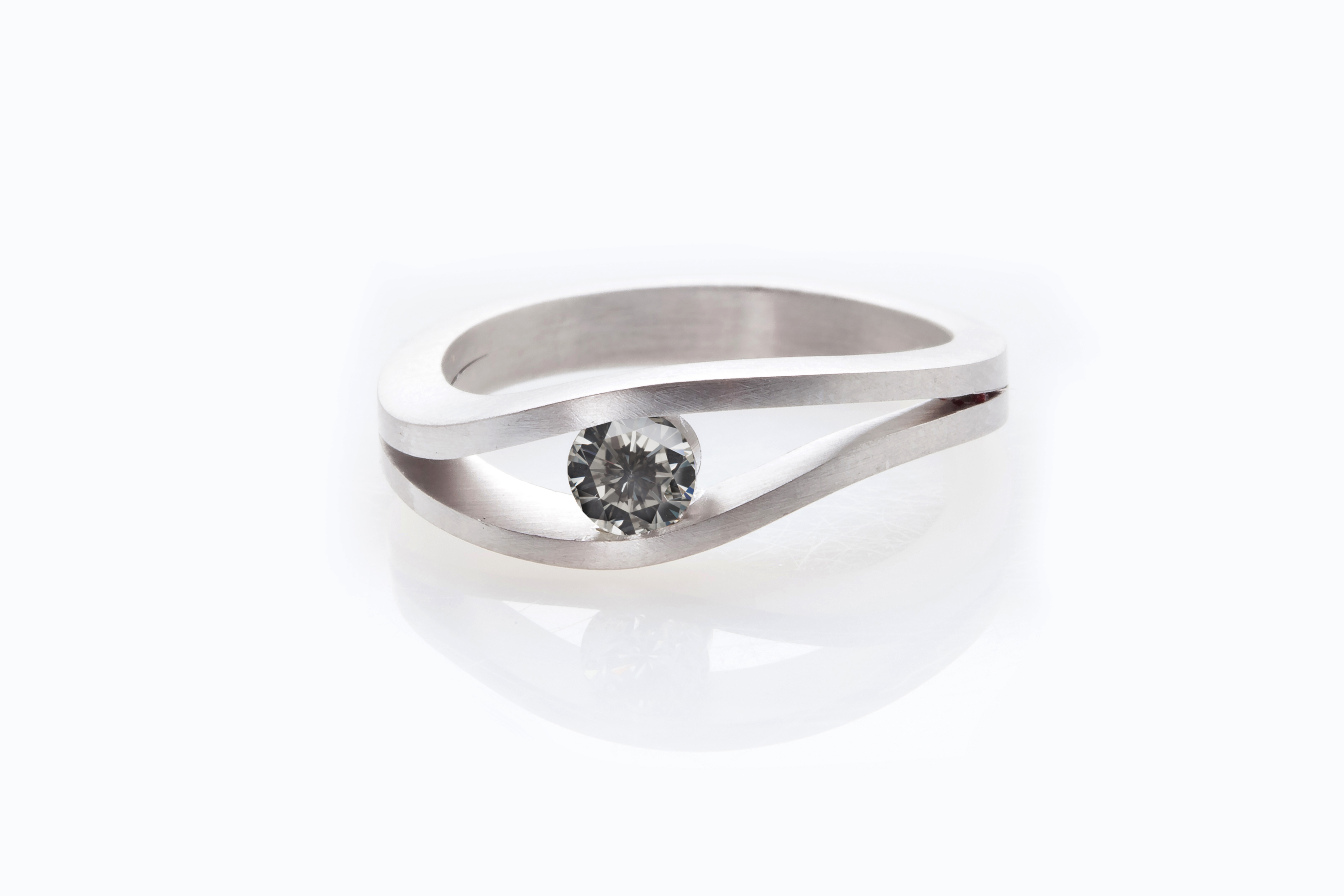 Natural Grey Diamond set in a Tension Ring