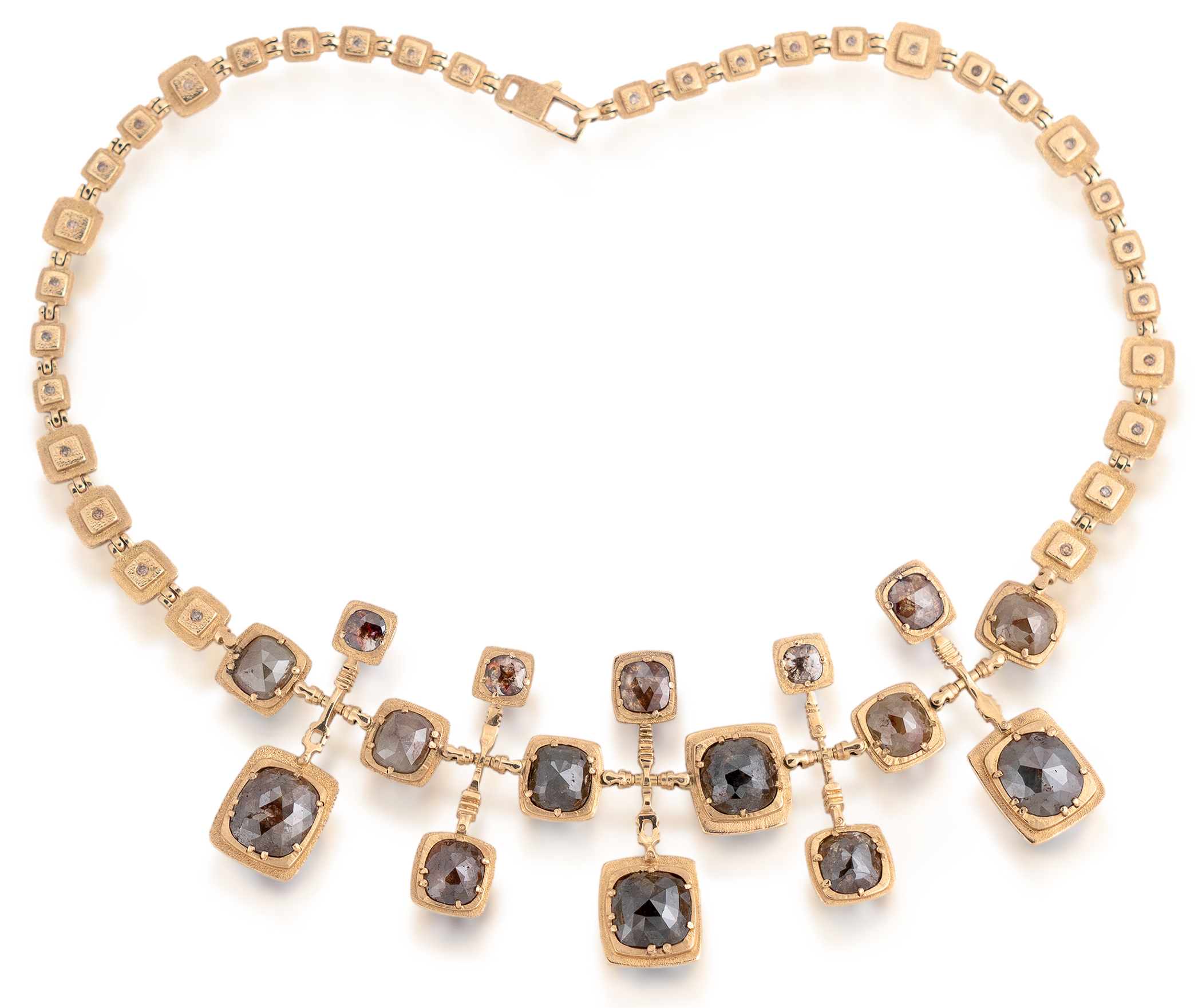 18K yellow gold necklace with rose-cut diamonds and brown diamonds