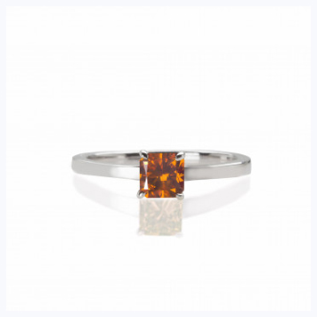 Timeless Collection  - Cognac Natural Color Diamond Ring-  0.49 carat natural fancy deep orange diamond