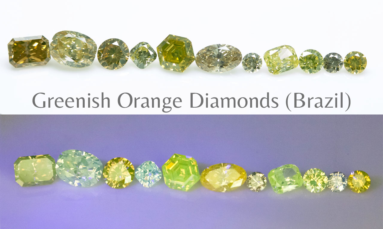 Fluorescence Greenish orange (Brazil) diamonds Langerman