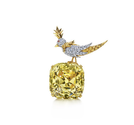 "Fancy Yellow ""Tiffany Diamond"".  'Bird on a Rock' setting for the Schlumberger retrospective at the Musée des Arts Décoratifs in Paris"